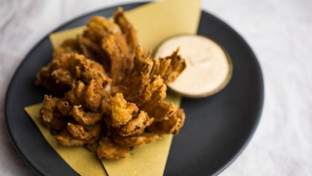 Blooming onion is one of the fresh, wine-friendly snacks.