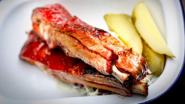 'Canadian pig candy': Pork ribs and pickles.
