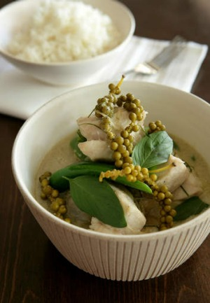 Thai green curry with peppercorns.