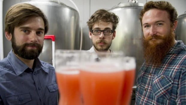 Kevin Hingston, Frazer Brown and Alan Ball with their new brew.
