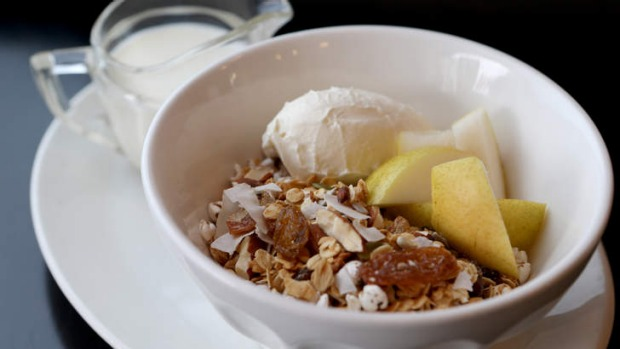 House-made granola with fruit.