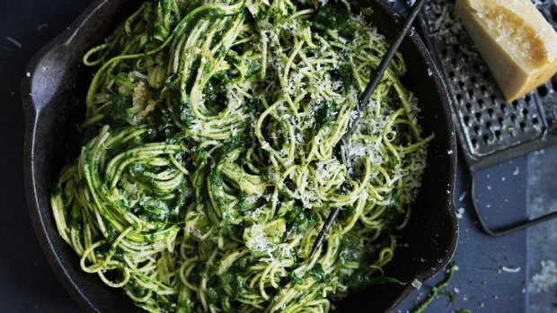 Go green(er) with spaghetti with zucchini and spinach.