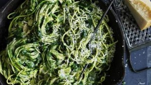 Spaghetti with zucchini and spinach.