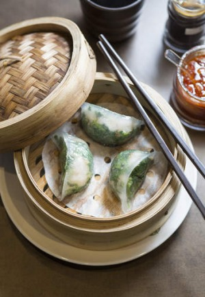 Translucent spinach dumplings.