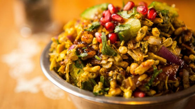 Street snack: Bhel puri is a mix of pomegranate seeds, peanuts, salsa, puffed rice and spice.