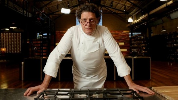 UK restaurateur Marco Pierre White in the MasterChef kitchen at Melbourne Showgrounds.