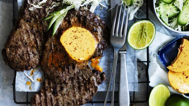 Minute-steak with chipotle butter and lime.