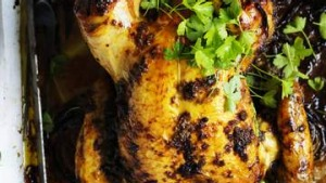 Slow-roasted chicken with anchovy, lemon and capers.
