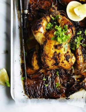 Put your oven to work: Slow-roasted chicken with anchovy, lemon and capers.