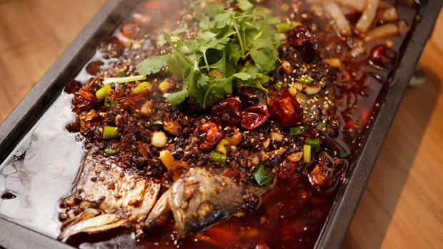 Barramundi with chilli, Sichuan pepper and cumin.