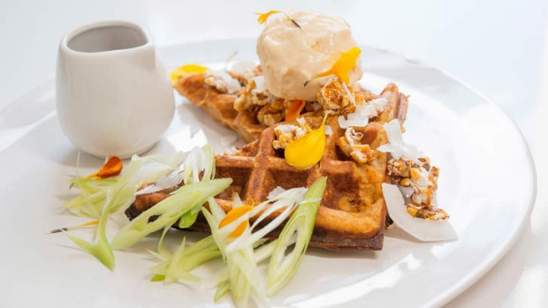 Sweet potato waffle with maple miso sauce and parmesan ice-cream.