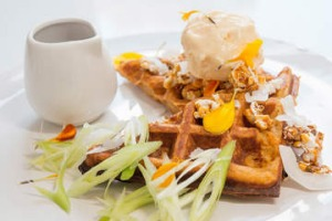 Sweet potato waffle at Aucuba cafe in South Melbourne.