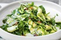 Shaved zucchini, snow peas, almonds salad.