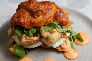 Soft-shell crab croissant burger at White Mojo cafe in Melbourne.