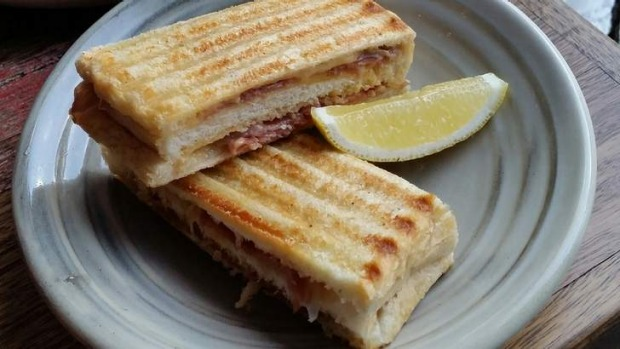 Prosciutto and emmental toasties with a kick of cayenne.