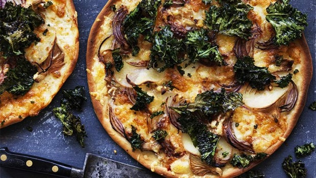 Mix up your pizza routine with potato and crispy kale.