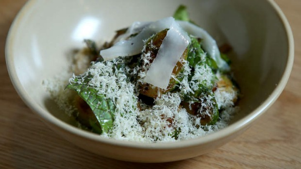 Brussels sprouts with strips of lardo.