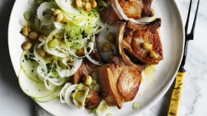 Neil Perry's pork cutlet with fennel, apple and macadamia.