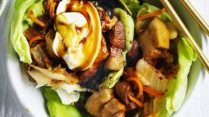 Coconut water braised pork and kimchi lettuce wraps.