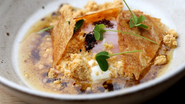Cilbir (egg with smoked yoghurt and chicken skin shards)