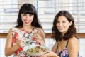 Melissa and Jasmine Hemsley share a bowl of lamb and carrot meatballs with salad.