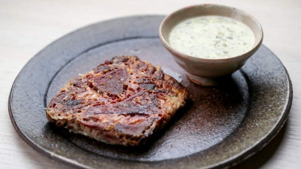 Tete a veau (veal head terrine) with sauce gribiche.