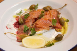 Salmon gravlax with creme fraiche and beetroot chutney at The Alps.