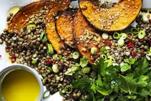Neil Perry's warm pumpkin salad with lentils and chilli.