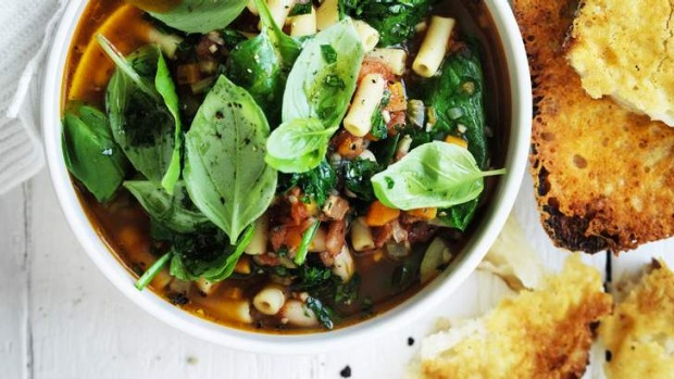 Hearty: Thick minestrone with parmesan croutons.