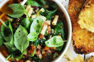 Thick minestrone with parmesan croutons.