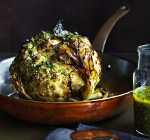 Neil Perry's whole roasted cauliflower with lemon and mustard.