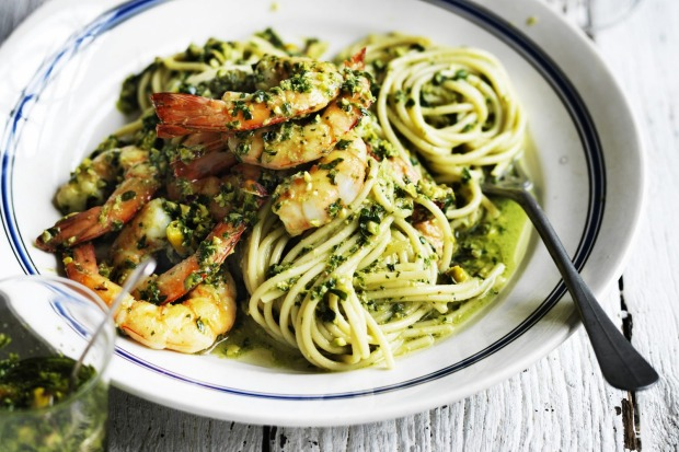 Neil Perry's spaghetti with prawns, basil, parsley and pistachios <a ...