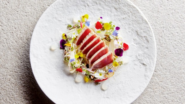 Delicate balance: Tuna tataki at Sokyo in Sydney.
