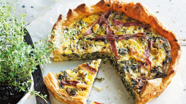 Good eating: Kale and prosciutto tart.