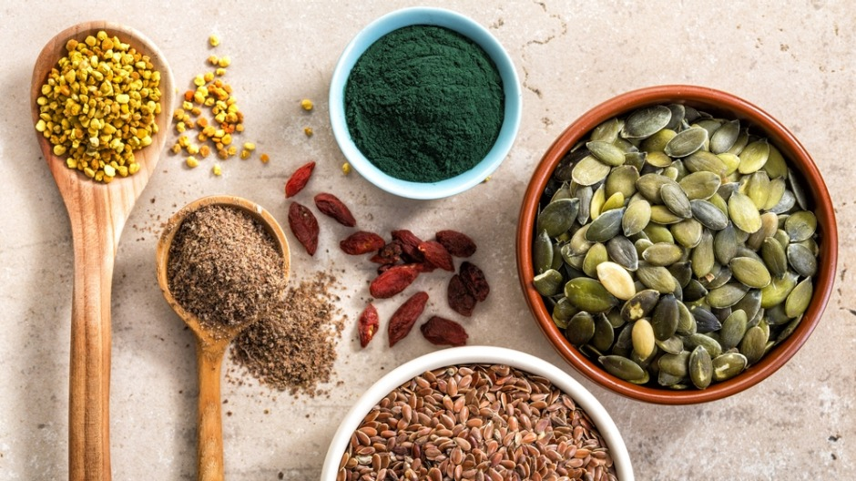 A range of superfood powders and potions.