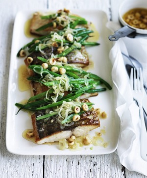 Neil Perry's kingfish with green beans, hazelnuts and brown butter.
