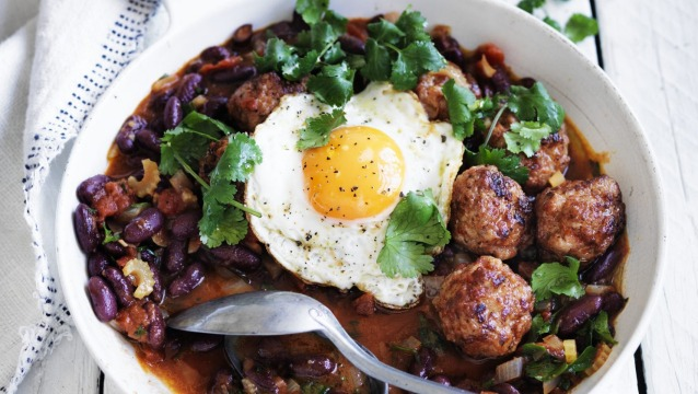 Chorizo meatballs, red beans and a fried egg.
