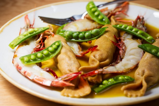 Tiger prawns and sugar snap peas at One Ford Street, Balmain.