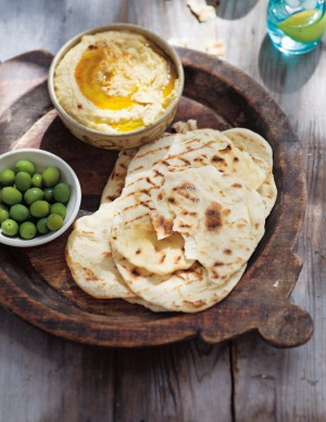 Yoghurt flatbread works well brushed with garlic-scented olive oil.