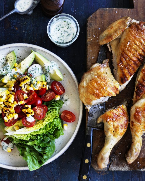 Barbecue chicken, corn and baby cos salad with ranch dressing <a ...