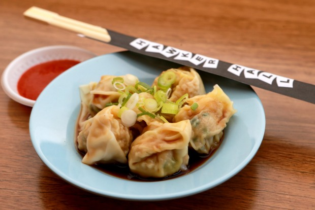 Pork and chive wontons at  Hawker Hall in Melbourne.