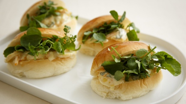 Prawn escabeche rolls: A generous serve of prawn mix in a soft brioche bun.