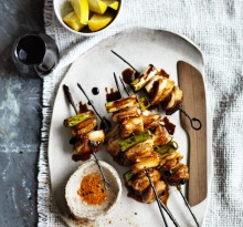 Japanese BBQ: Chicken yakitori.