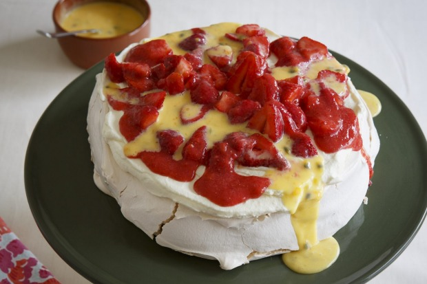 Frank Camorra's pavlova oozing with passionfruit curd <a ...