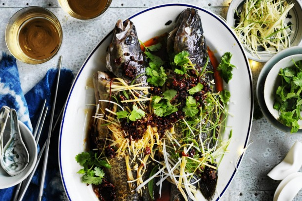 Steamed Murray Cod with red chilli oil <a ...