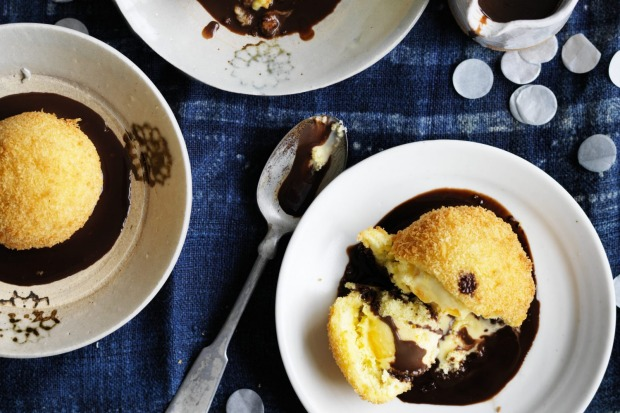 Adam Liaw's orange marmalade fried ice-cream with chocolate sauce <a ...