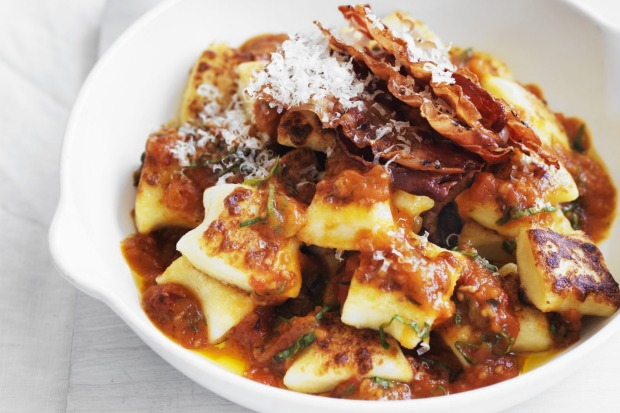 Neil Perry's pan-fried gnocchi with roast tomato and basil sauce and crispy pancetta <a ...