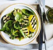 Grilled zucchini with basil and mint