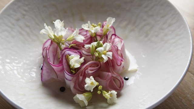 Kohlrabi, enoki and fermented apple: one of the inspired dishes on Yellow's all-vegetarian dinner menu.