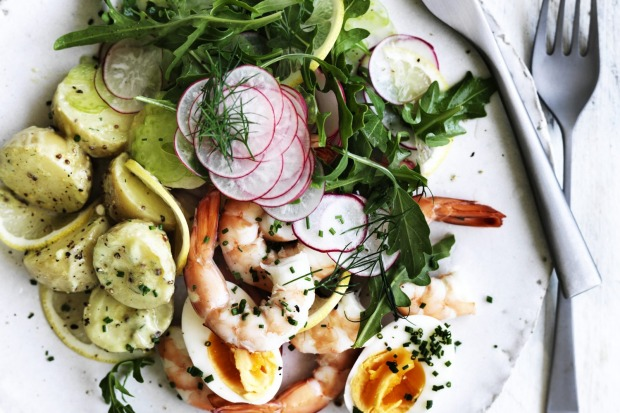 Potato, prawn and avocado salad <a ...